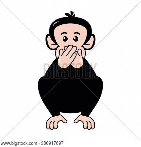 Isolated Laugh Emoji Funny Chimpanzee Icon - Vector