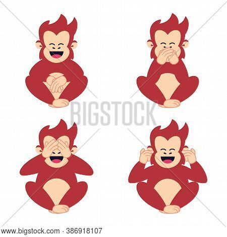 Isolated Set Face Emoji Chimpanzee Red Funny Icon - Vector