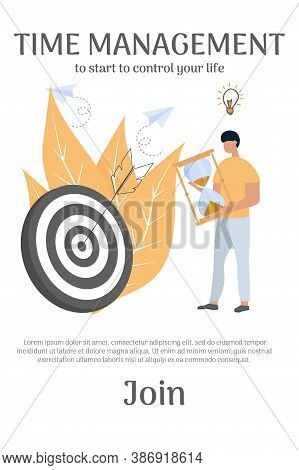 Banner, Web Template Design, Time Management Concept. Character Man Holding Hourglass Standing Near