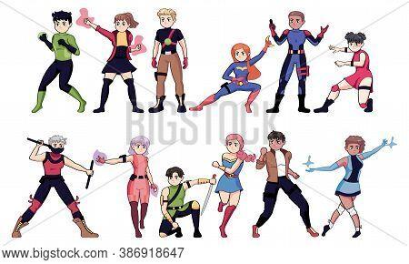 Isolated Set Group Heroes Manga Comic Icon- Vector