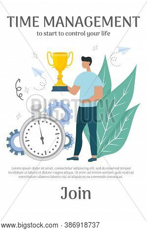 Banner With Text Time Management, Man Standing And Holding Gold Cup Near Stopwatch. Personal Product