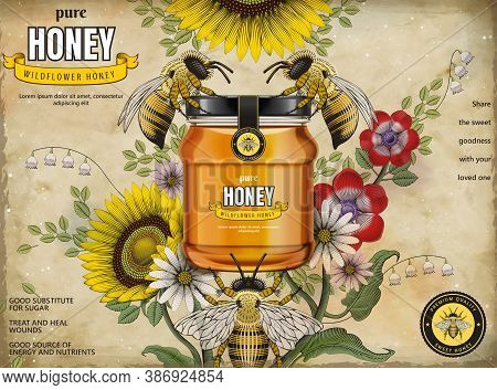 Retro Honey Ads, Glass Jar In 3d Illustration With Honey Bees And Elegant Flowers Around It, Etching