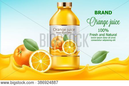 Bottle With Fresh And Natural Juice Submerged In Flowing Orange Extract. 3d Mockup With Product Plac