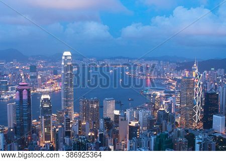 3 June 2007 Hong Kong City View From The Peak At Twilight