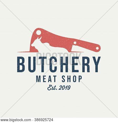 Butcher Shop Logo. Meat Knife. Meat Shop Vintage Emblem. Retro Poster For Bar, Restaurant. Vector Il
