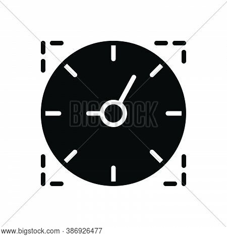 Black Solid Icon For Time Period Duration Countdown Hour Timer Alarm Time-is-running