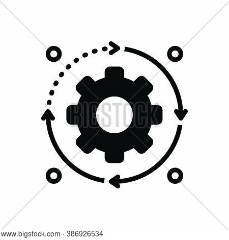 Black Solid Icon For Process Procedure Action Movement Proceeding Progress Cogwheel Machine Power Ef