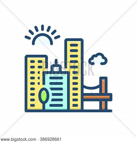 Color Illustration Icon For Jacksonville Skyline Cityscape Downtown Buildings Architecture