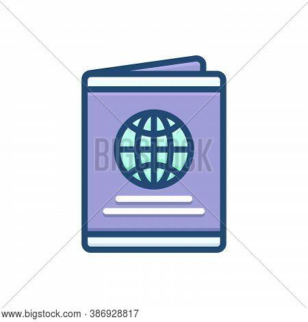 Color Illustration Icon For Passport Immigration Document Identification Emigration