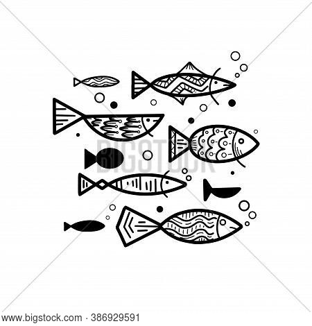 Set Of Different Doodle Fish With Boho Pattern And Bubbles. School Of Fish. Vector Lagoon Object For