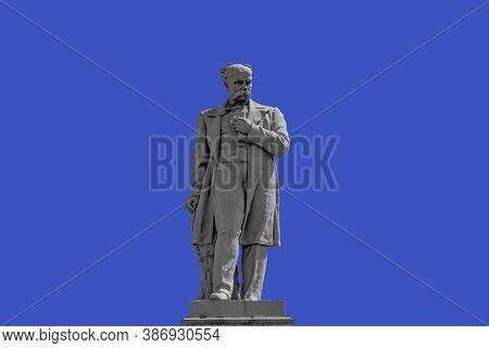 Dnipro, Ukraine - July 21, 2020:  Taras Shevchenko Monument On Monastyrsky Island In Dnipro, Close U