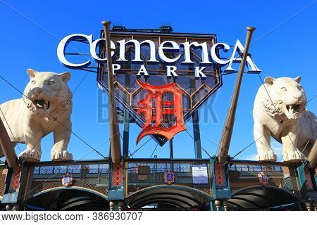 Detroit, Michigan, USA - August 30, 2020: Entrance of Comerica Park stadium, home of the Detroit Tigers team.