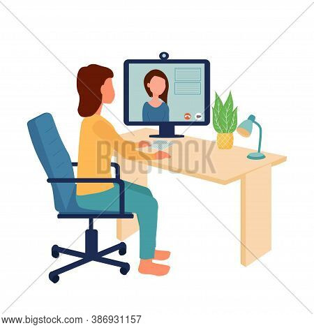 Woman Sitting On Office Chair Near Monitor, Watching Online Video Conference, Webinar. Education, Wo