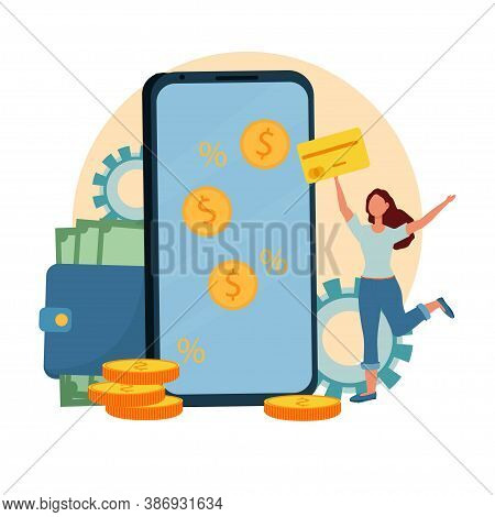 Wallet With Banknotes, Phone With Coins On Screen Near Happy Woman Jumping With Card Stock Vector Il