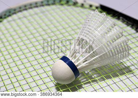Plastic Shuttlecock Of Badminton Put On The Green Plastic Shuttlecock Of Badminton Put On The Green