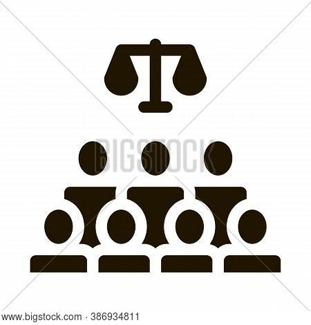 Court Sitting Law And Judgement Icon Vector . Contour Illustration