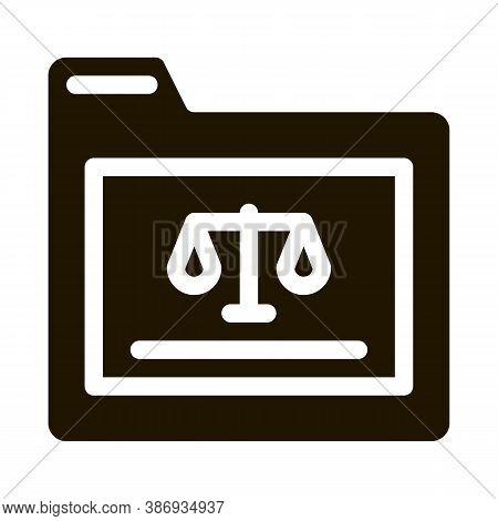 Court Folder Law And Judgement Icon Vector . Contour Illustration