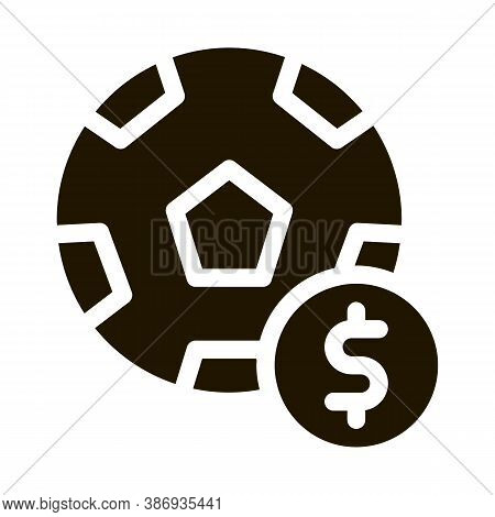Soccer Ball Betting And Gambling Icon Vector . Contour Illustration