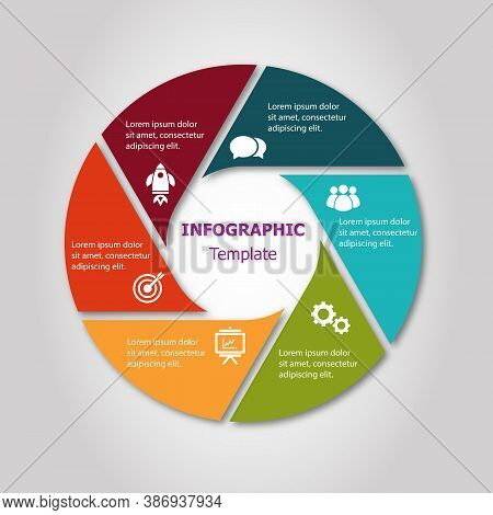 Infographic Circle Design Template With 6 Steps, Stock Vector