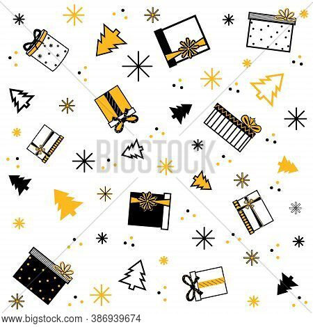 Pattern Of Christmas And Gifts And Christmas Trees In Flat Style On A White Background Color Black A