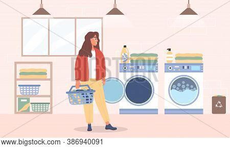 Young Woman Washes Clothes In The Laundry Room. Flat Cartoon Vector Illustration