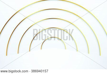 Modern Minimal And Clean White Paper Cut Background With Realistic Gold Line Tunnel. Elegant Design