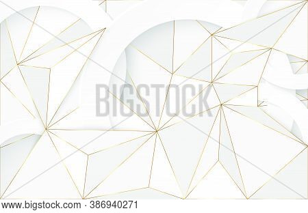 Abstract Geometric Background With White And Gold Element. Futuristic Modern Background. Elegant Geo