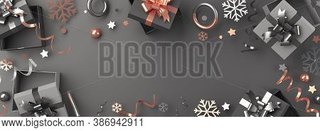Black Friday Sale Background Or Winter Decoration With Gift Box, Snowflakes, Confetti, Copy Space Te