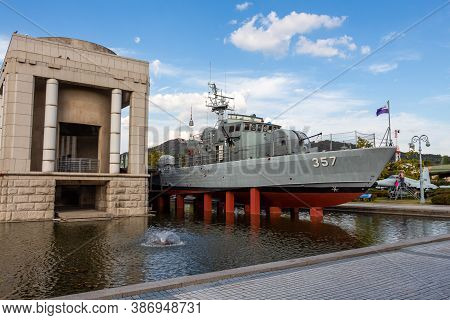 Seoul, South Korea - October 19th 2017: A Battleship At The War Memorial Of Korea Museum, Yongsan-do