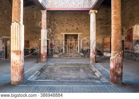 Atrium Of Ancient Roman Villa San Marco In Stabiae With Impluvium And Ionic Columns
