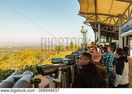 Seoul, South Korea - October 19th 2017: Tourists At The Dorsa Observatory At The Korean Demilitarize