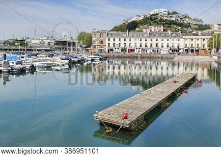 21 May 2018: Torquay, Devon, England, Uk - The Marina, Harbour And Town On A Sunny Spring Day.