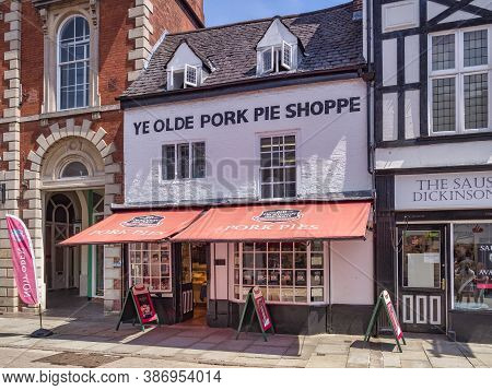 4 July 2019: Melton Mowbray, Leicestershire, Uk - The Famous Old Pork Pie Shoppe In Nottingham Stree