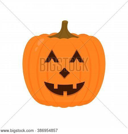 Laughing Halloween Pumpkin Icon Isolated On White. Cute Cartoon Jack-o -lantern. Halloween Party Dec