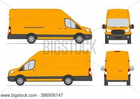 Yellow Cargo Van For Delivery Goods In Differents View Side, Back, Front. Vector Illustration.