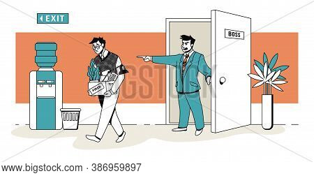 Boss Fires Employee. Workman Dismissal Scene. Unhappy Jobless Office Worker With Personal Stuff Leav