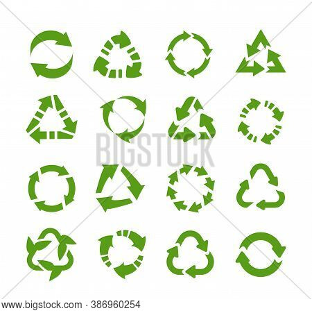 Recycle Icons. Circle Arrows, Product Reuse And Eco Symbols, Environmental Protection Logo. Collecti