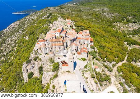 Amazing Historical Town Of Lubenice On The High Cliff, Cres Island In Croatia, Adriatic Sea In Backg