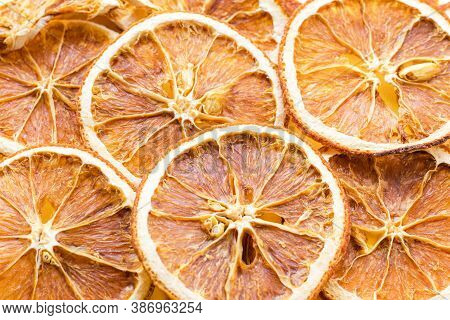 Pattern With Slices Of Dried Orange. Sweet Citrus Fruit. Organic Diet Snack. Homemade Christmas Natu