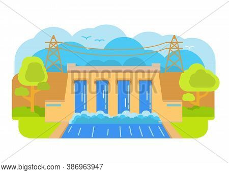 Hydroelectric Power Station.the Dam Hydro Power Plant.hydro Energy.