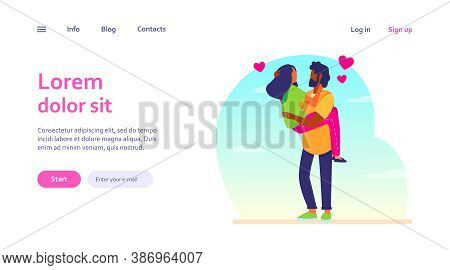 Man Holding Beloved Girlfriend In Arms. Interracial Dating People Flat Vector Illustration. Love, Re