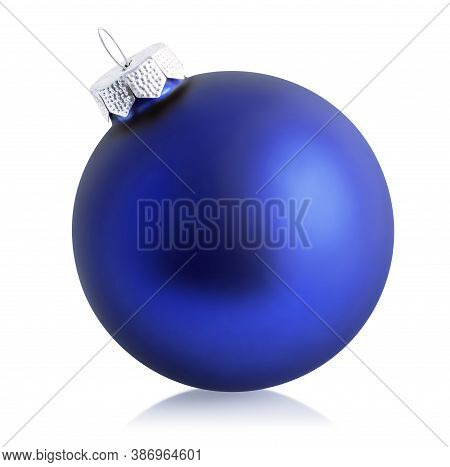 Blue Christmas Ball Isolated Over White Background. Holiday Ornament, Winter Decoration. Clipping Pa