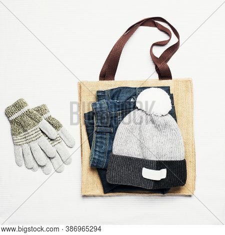 Boy Man Autumn Winter Spring Clothes Set On A Natural Wooden Background. Beauty Fashion Concept. Fla
