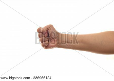 Punch, Hand Fists Knuckle, Side View Horizontal Hand Hitting Isolated On White