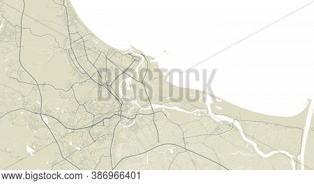 Detailed Map Of Gdansk City Administrative Area. Royalty Free Vector Illustration. Cityscape Panoram