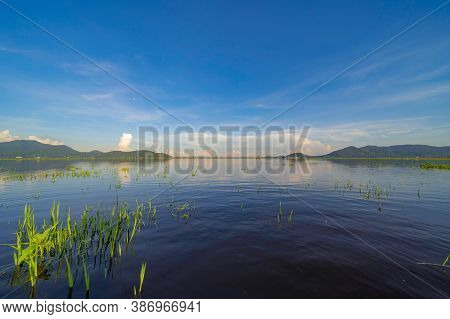Bang Pra Reservoir Dam. National Park With Reflection Of River Lake, Mountain Valley Hills At Noon A