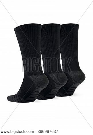 Three Black Socks Isolated On White Background. Three Pair Of Socks. Set Of Short Socks For Sports O