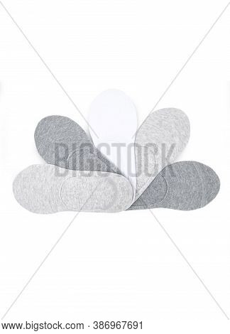 Set Of Short Socks White, Grey, Black Isolated On White Background. Three Pair Of Socks In Different