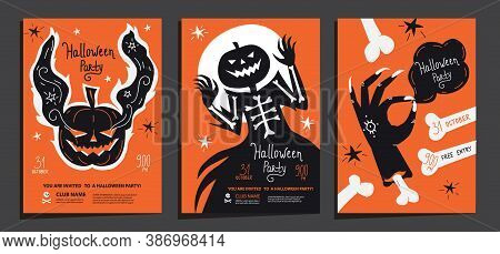 Halloween Party Posters Invitations Set Of Template With Ghost Pumpkin, Haunted Jack And Scary  Zomb