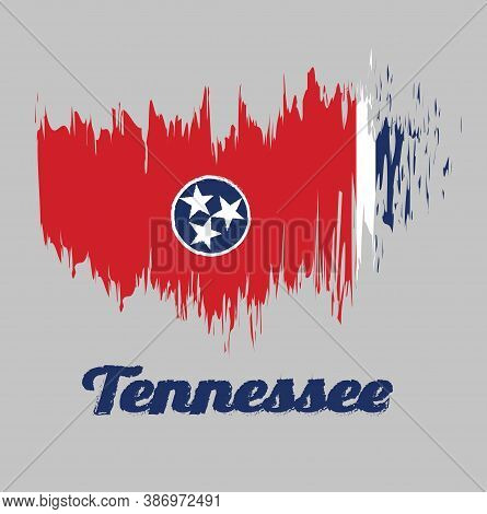Brush Style Color Flag Of Tennessee, A Blue Circle With Three White Five-pointed Stars On A Rectangu